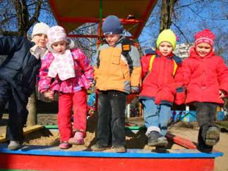 Kinders outside